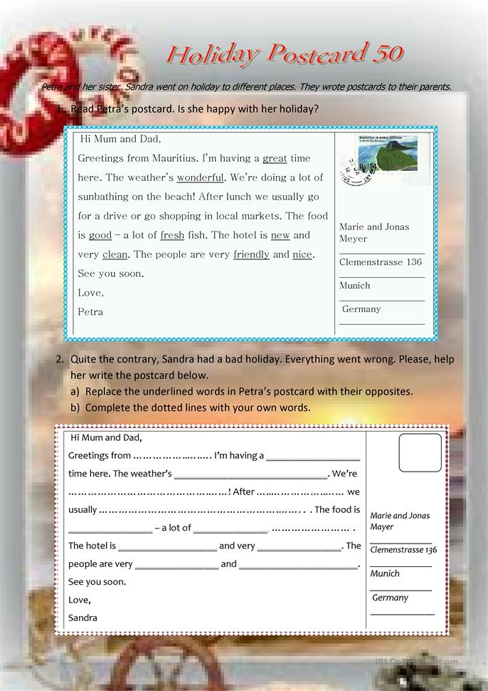 Holiday Postcard 50 - ESL worksheets