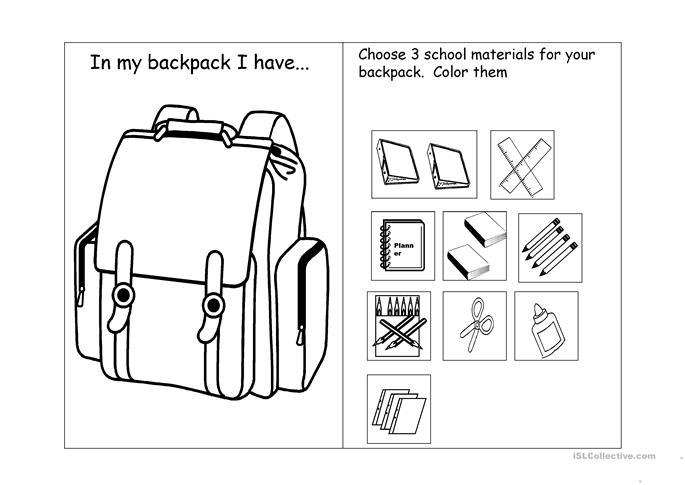 In my backpack I have worksheet - Free ESL projectable worksheets made by teachers