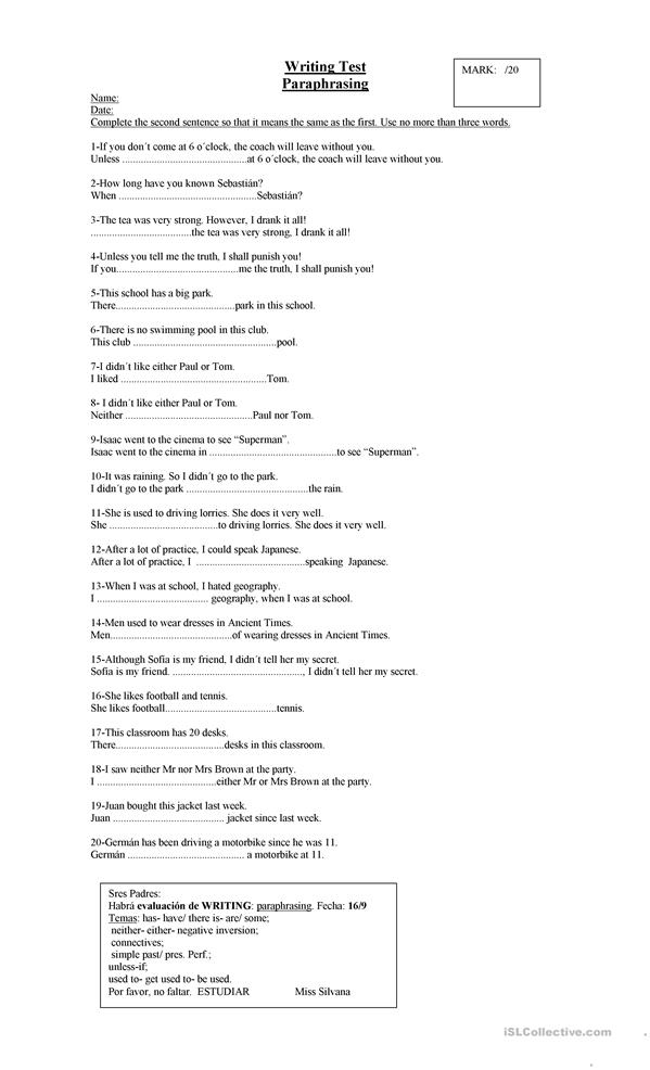 Worksheet Paraphrasing Worksheets 8 free esl paraphrasing worksheets for pet