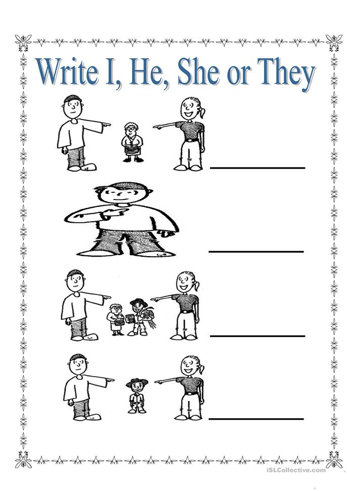 Personal Pronouns I, She, He and They - ESL worksheets