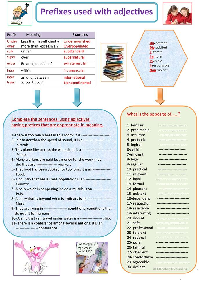 Prefixes Used With Adjectives Worksheet Free Esl