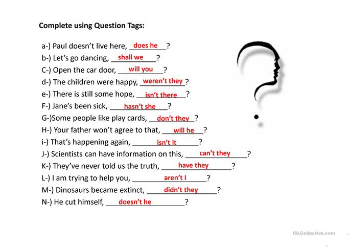 Question Tags exercises worksheet - Free ESL projectable worksheets ...