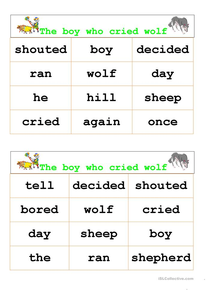 the boy who cried wolf bingo worksheet free esl printable worksheets made by teachers. Black Bedroom Furniture Sets. Home Design Ideas