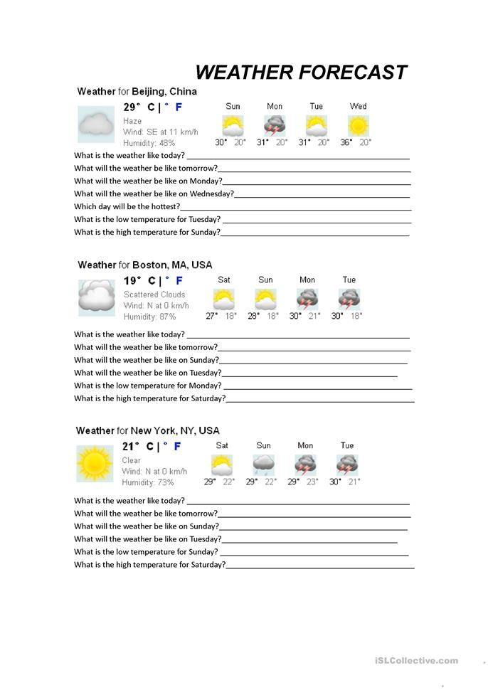 Weather Forecasts worksheet - Free ESL printable worksheets made ...