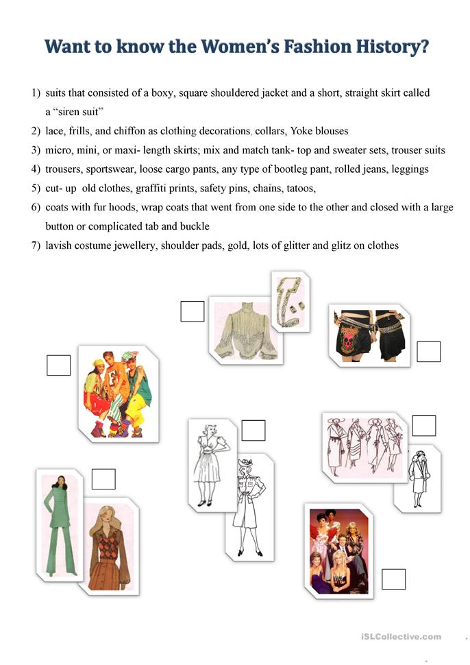 1 FREE ESL history of women´s clothes worksheets