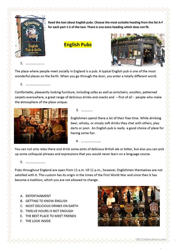 English Pubs 1 - English ESL Worksheets