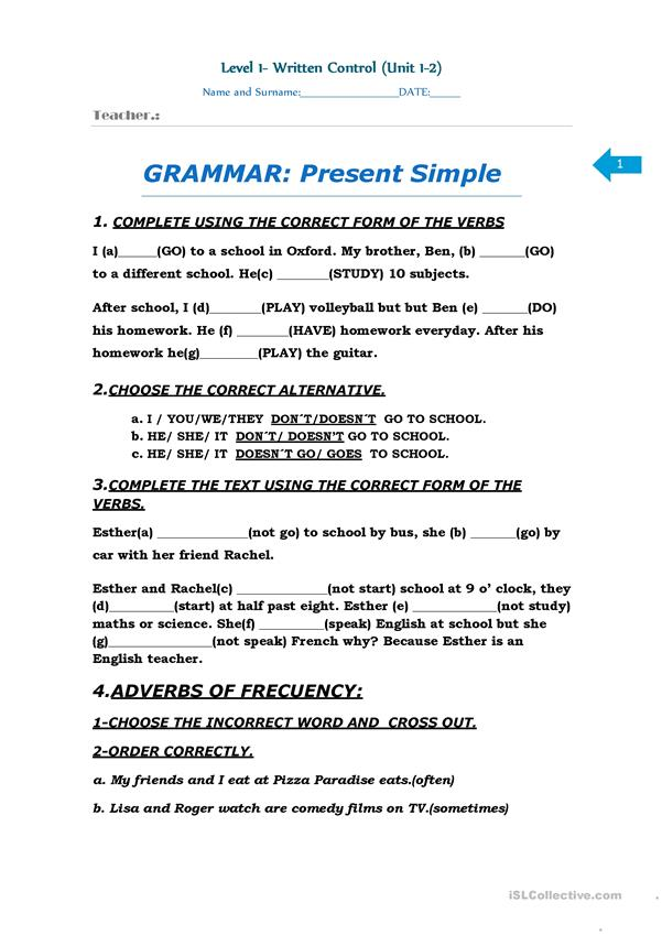 Exam Level 1 Elementary English ESL Worksheets For