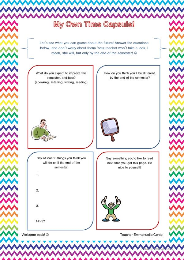 photo relating to Time Capsule Printable Worksheets known as My Particular Period Capsule - English ESL Worksheets