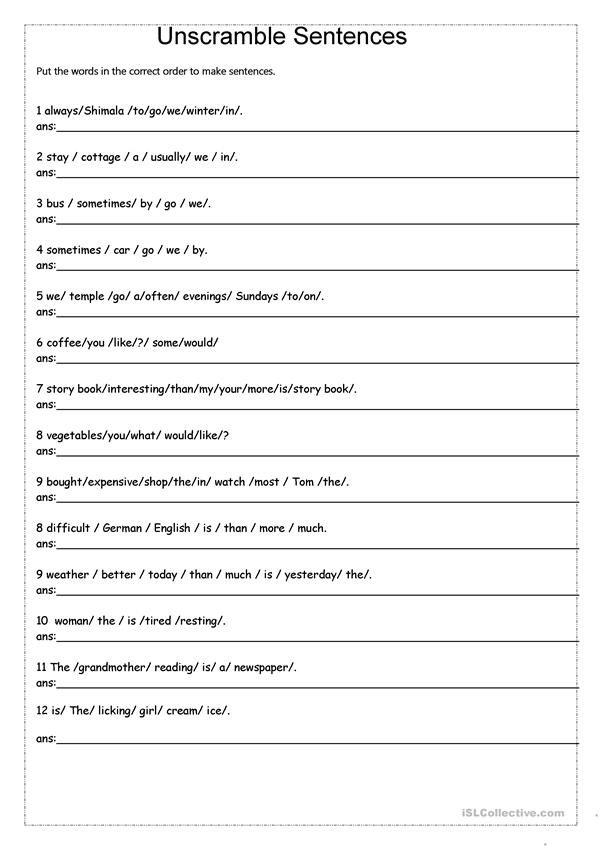 Unscramble Sentences Worksheet Free Esl Printable