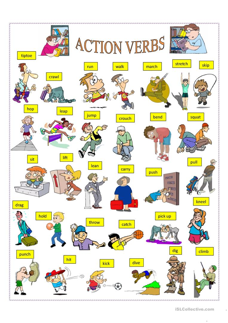228 FREE ESL Verbs: Action verbs worksheets