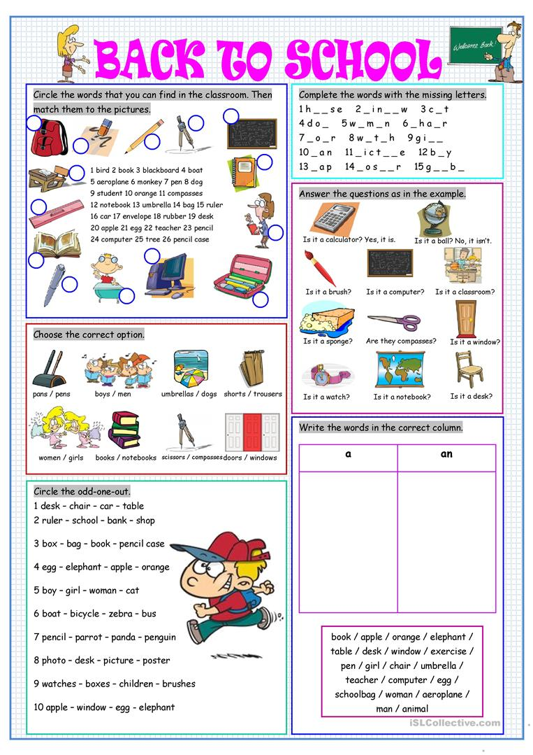 photo relating to Back to School Printable Worksheets identified as Back again in the direction of College or university - English ESL Worksheets