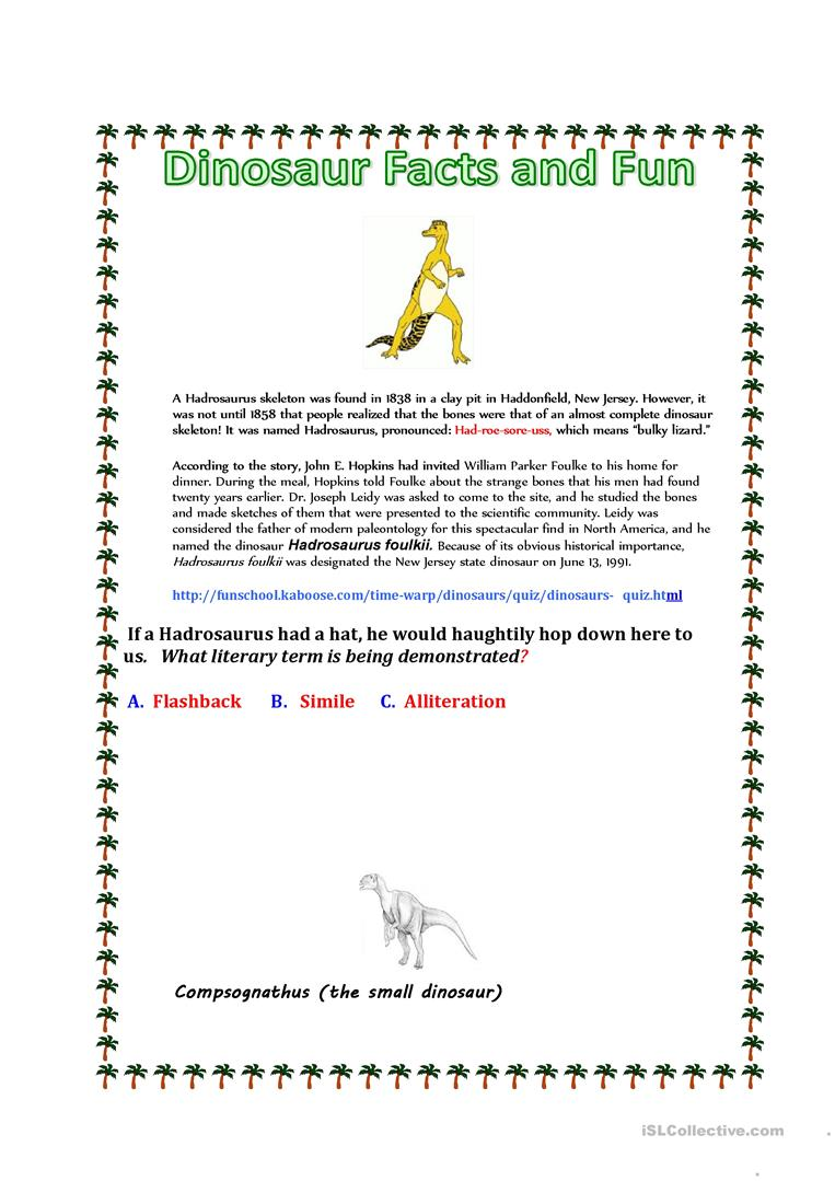 Dinosaur Facts and Fun worksheet Free ESL printable worksheets – Flashback Worksheet