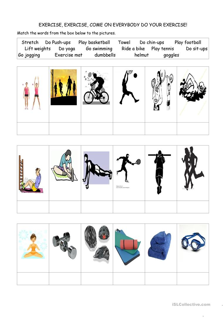 worksheet Fitness Worksheets 10 free esl fitness worksheets exercise