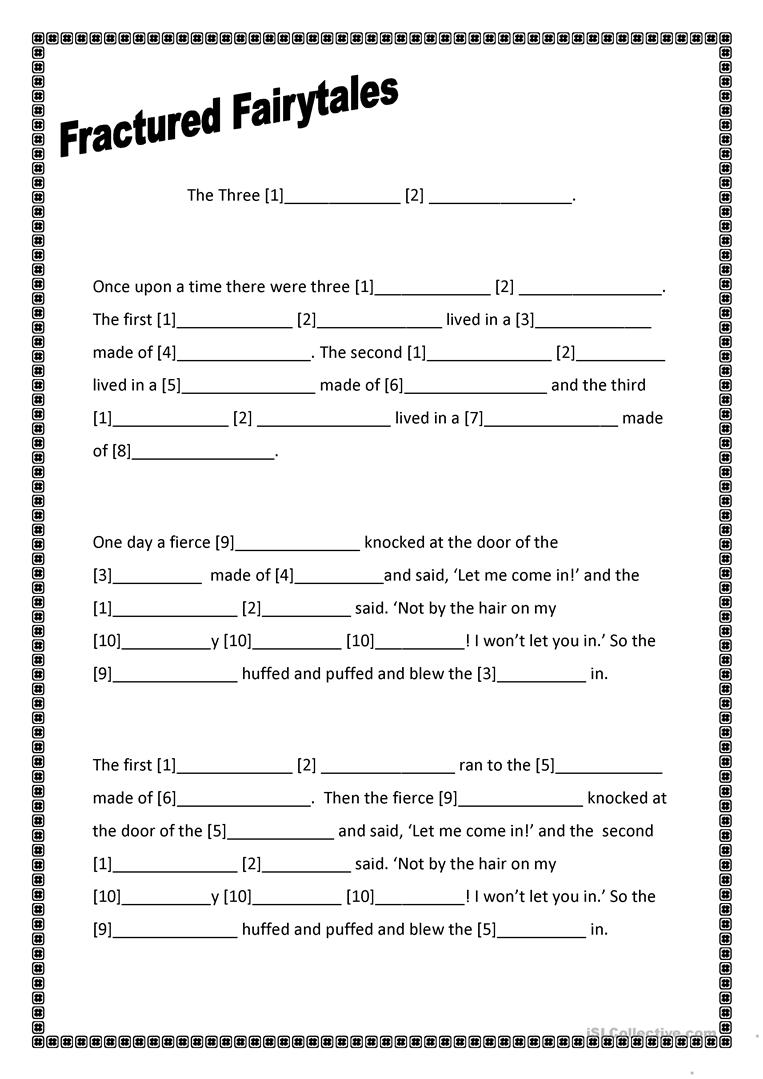 Worksheets Fairy Tale Worksheets 17 free esl fairytale worksheets fractured fairytales three little pigs