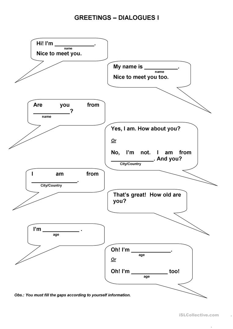 Worksheets Dialogue Worksheet greetings dialogues worksheet free esl printable worksheets made full screen
