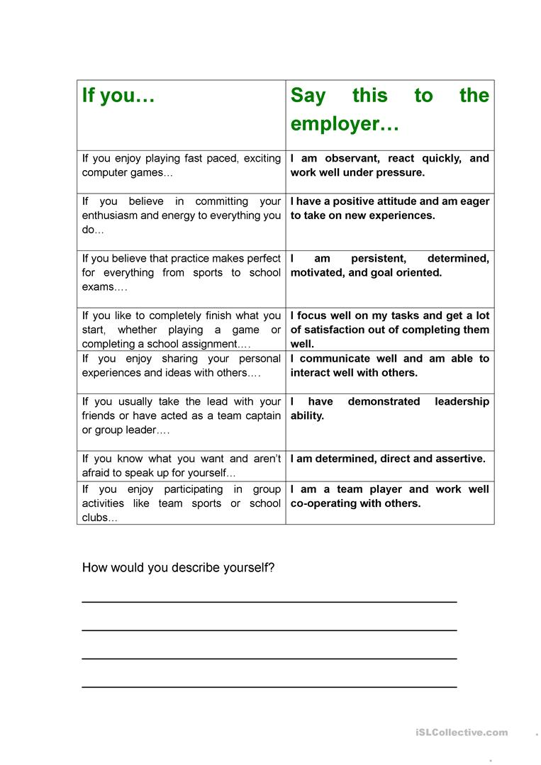 job interview    cv -  u0026quot if you    u0026quot  personality skills worksheet