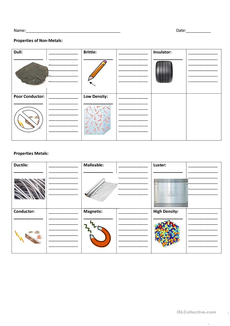 Worksheets Properties Of Metals And Nonmetals Worksheet metals and non worksheet free esl printable full screen