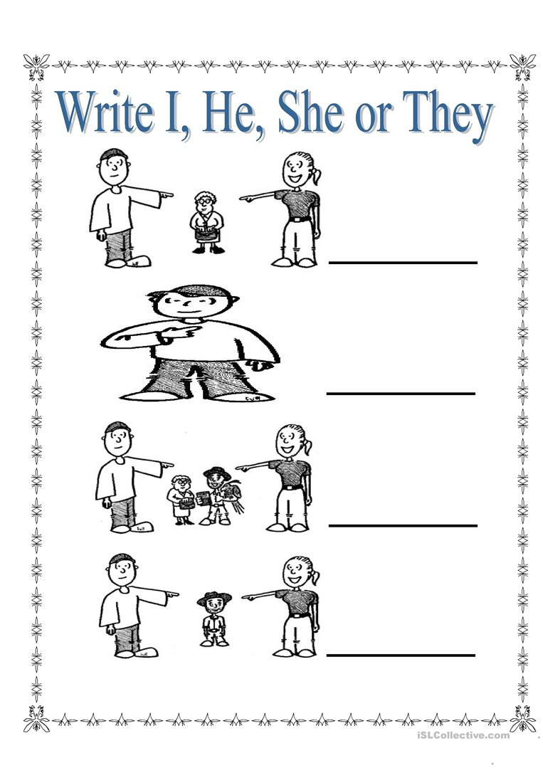 Personal Pronouns I, She, He and They worksheet - Free ESL ...