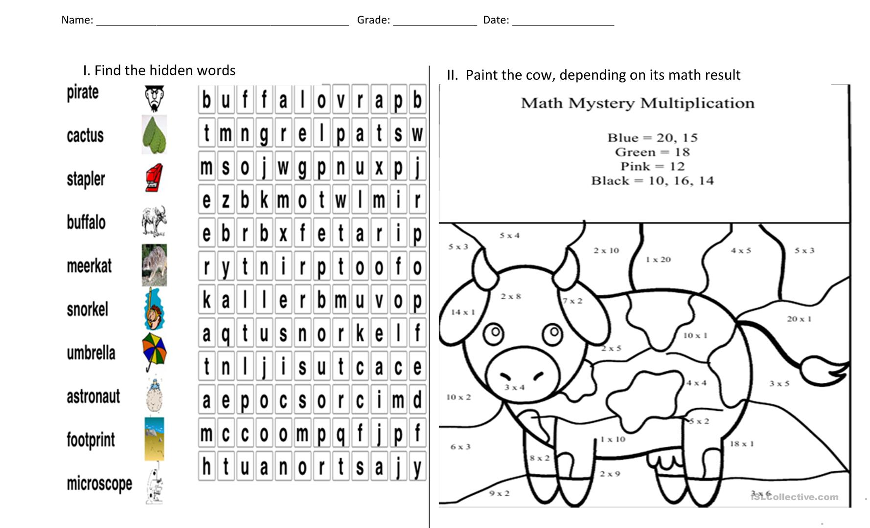puzzle and painting - English ESL Worksheets