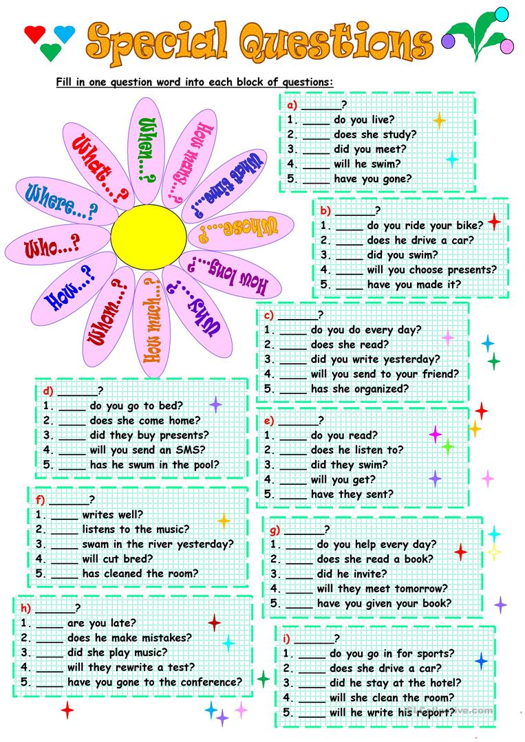 8 FREE ESL special questions worksheets