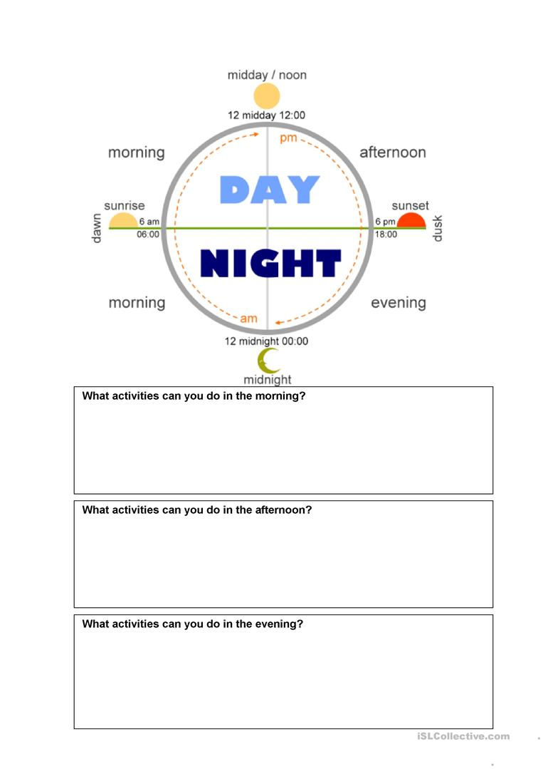 Teacher Day And Night Worksheets : Time of day worksheet free esl printable worksheets made