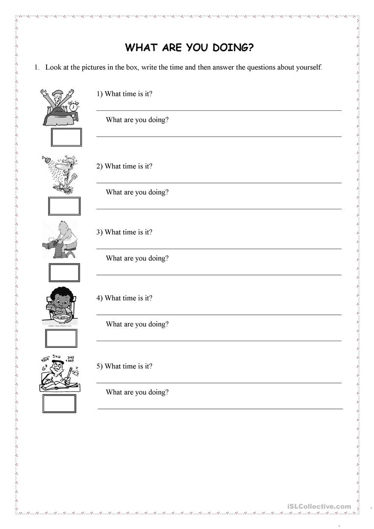 12 FREE ESL what are you doing worksheets