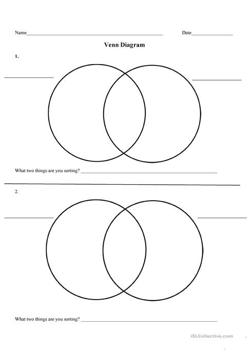 Printable Venn Diagram 2 Circles Worksheets Auto Electrical Wiring