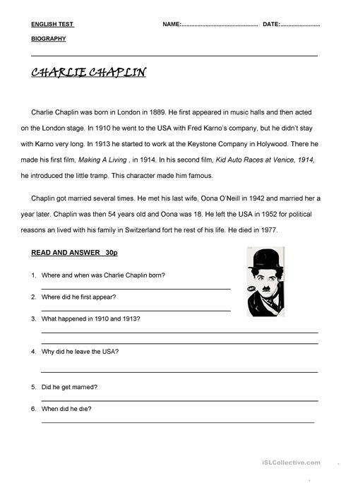 photograph regarding Printable Biography Worksheets titled biographies worksheet - Cost-free ESL printable worksheets developed