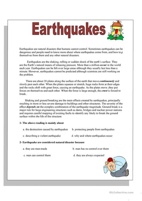 earthquakes worksheet - Free ESL printable worksheets made by teachers