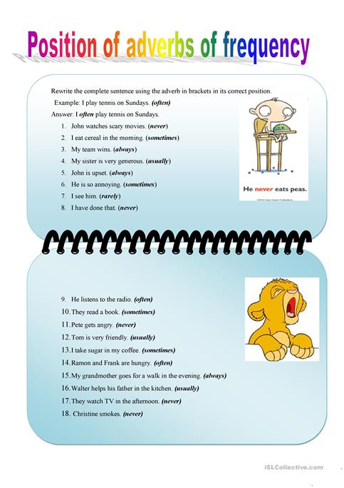 Position of adverbs of frequency worksheet - Free ESL printable ...