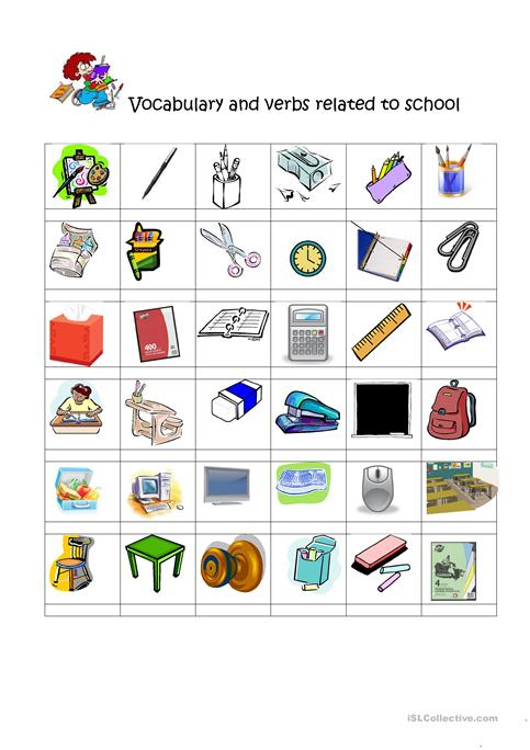 vocabulary and verbs related to school worksheet - Free ESL ...