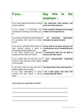 job interview cv if you personality skills
