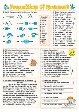 60 FREE ESL Prepositions of movement worksheets