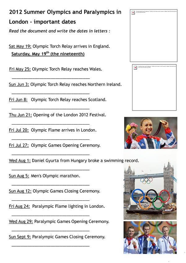 2012 London Olympics and Paralympics important dates