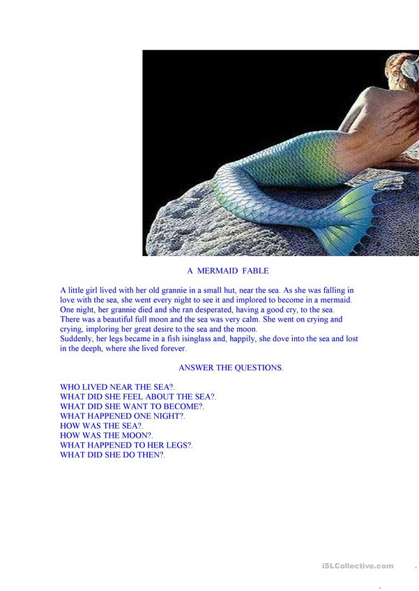a mermaid fable. reading comprehension