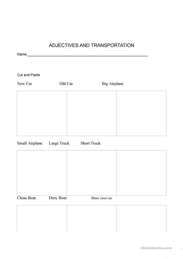 Adjectives and Means of transportation