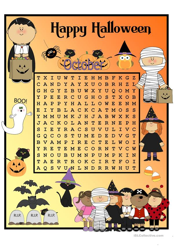 Halloween Wordsearch with KEY