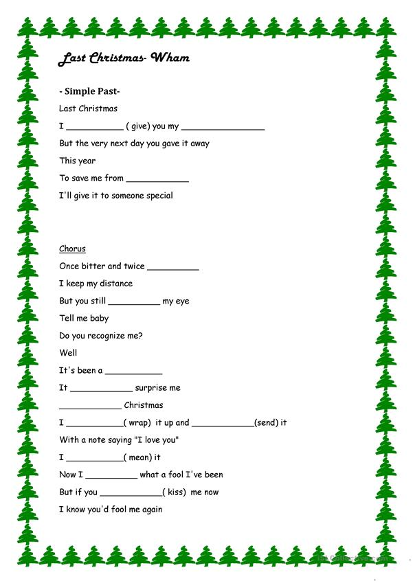 Last Christmas- Simple Past Exercise