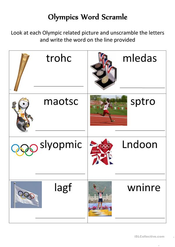 Olympic Word Unscramble