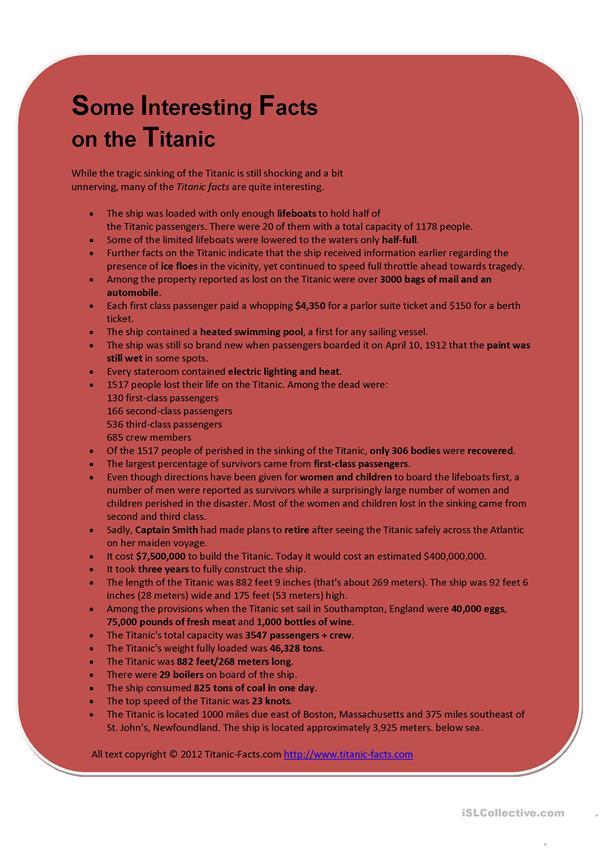 Some Interesting Facts on the Titanic