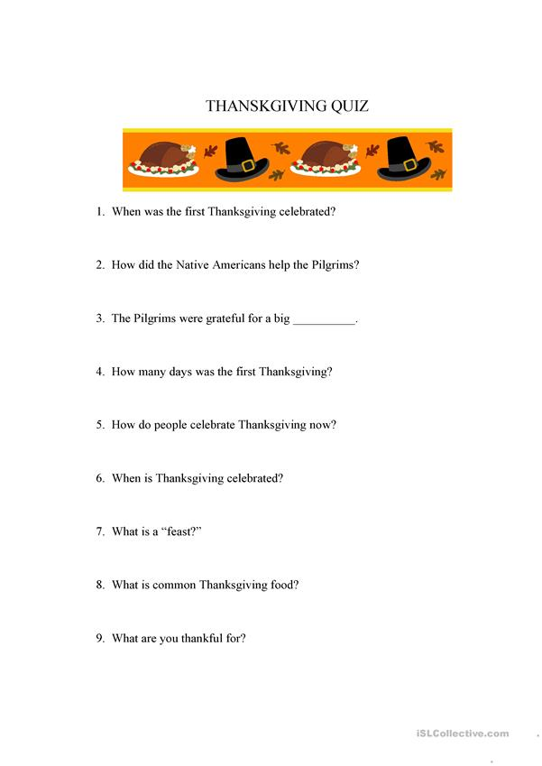 Thanksgiving text  and quiz (running dictation)