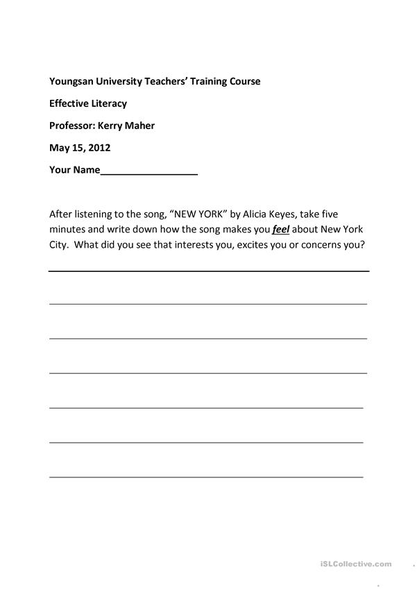 Writing Worksheet Alicia Keyes NEW YORK