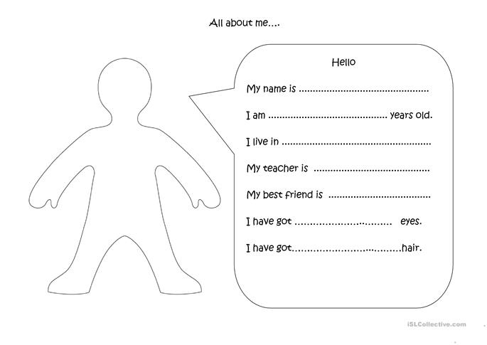 55 FREE ESL all about me worksheets – All About Me Worksheets