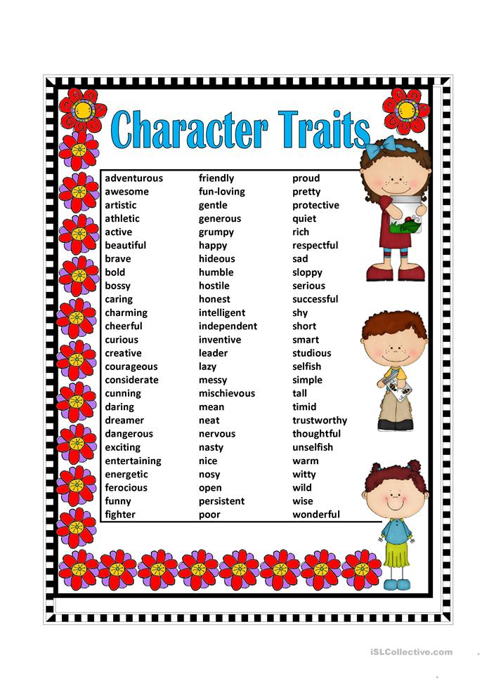Worksheets Character Traits Worksheet 9 free esl character traits worksheets traits