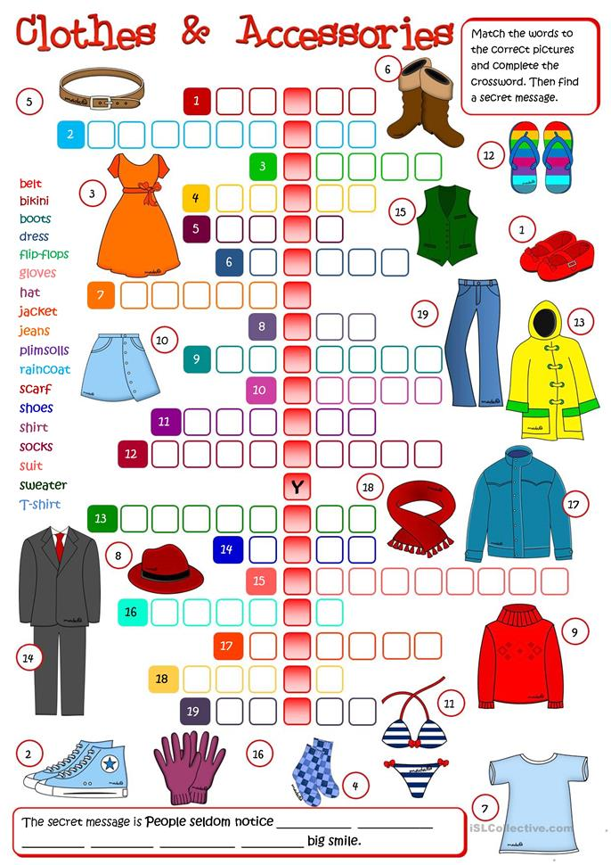 Clothes and Accessories - crossword worksheet - Free ESL printable ...