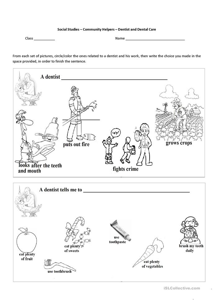 Printables Community Workers Worksheets 10 free esl community helpers worksheets the dentist