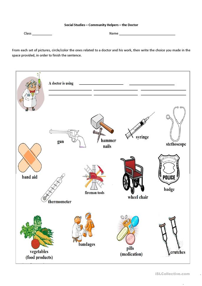 Community Helpers Worksheets : Free esl community helpers worksheets