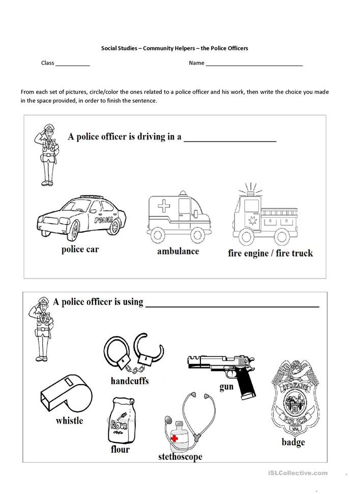 Worksheet Free Community Helpers Worksheets 10 free esl community helpers worksheets the police officer