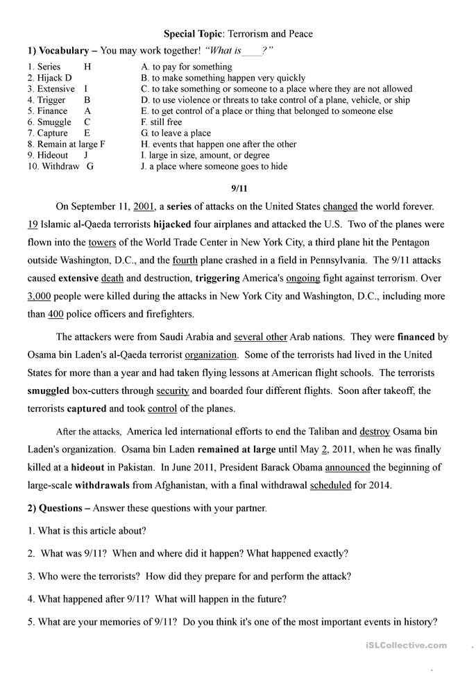 Conversation lesson on 9/11, Terrorism, and Peace - ESL worksheets