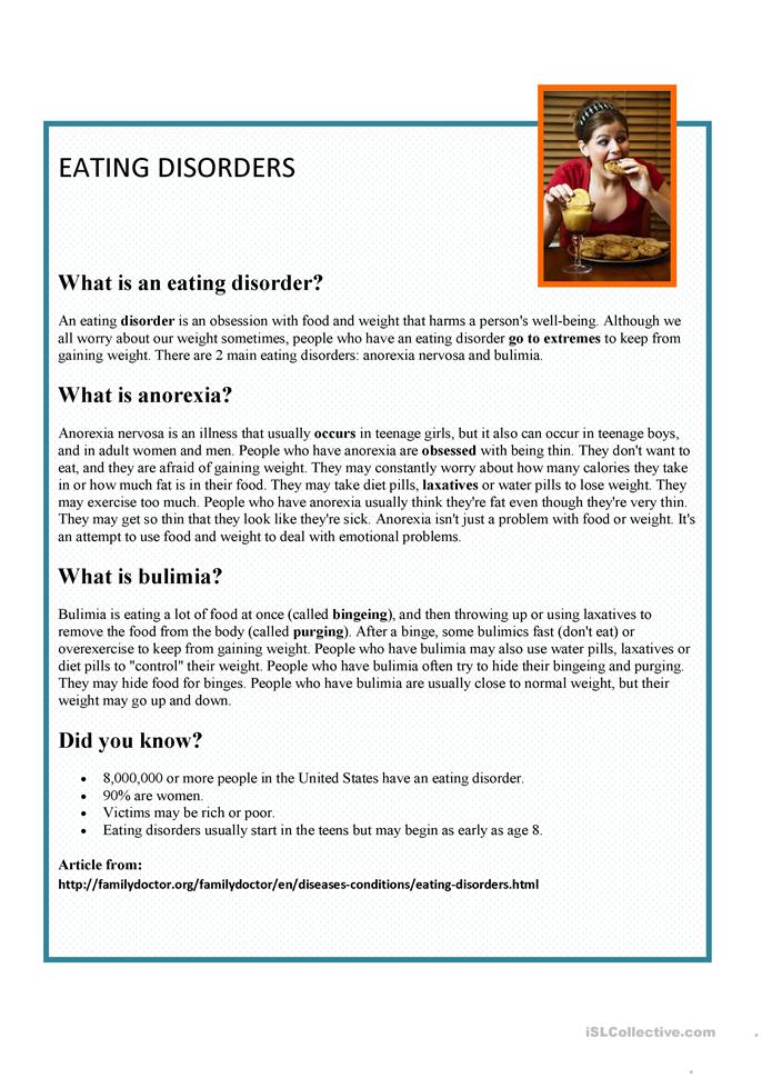 Worksheets Eating Disorder Worksheets 6 free esl eating disorders worksheets disorders